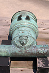 This bronze mortar is an example of the individual desgns of the early Spanish armament.  A mold was created for each weapon and then cast in bronze.  This mortar is at the Castillo de San Marcos in St. Augustine, Florida.