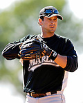 18 March 2007: Florida Marlins third baseman Aaron Boone takes fielding practice prior to facing the Washington Nationals at Space Coast Stadium in Viera, Florida...Mandatory Photo Credit: Ed Wolfstein Photo
