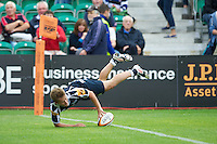 20120803 Copyright onEdition 2012©.Free for editorial use image, please credit: onEdition..Jack Walsh of Sale Sharks scores a try against Saracens 7s at The Recreation Ground, Bath in the Final round of The J.P. Morgan Asset Management Premiership Rugby 7s Series...The J.P. Morgan Asset Management Premiership Rugby 7s Series kicked off again for the third season on Friday 13th July at The Stoop, Twickenham with Pool B being played at Edgeley Park, Stockport on Friday, 20th July, Pool C at Kingsholm Gloucester on Thursday, 26th July and the Final being played at The Recreation Ground, Bath on Friday 3rd August. The innovative tournament, which involves all 12 Premiership Rugby clubs, offers a fantastic platform for some of the country's finest young athletes to be exposed to the excitement, pressures and skills required to compete at an elite level...The 12 Premiership Rugby clubs are divided into three groups for the tournament, with the winner and runner up of each regional event going through to the Final. There are six games each evening, with each match consisting of two 7 minute halves with a 2 minute break at half time...For additional images please go to: http://www.w-w-i.com/jp_morgan_premiership_sevens/..For press contacts contact: Beth Begg at brandRapport on D: +44 (0)20 7932 5813 M: +44 (0)7900 88231 E: BBegg@brand-rapport.com..If you require a higher resolution image or you have any other onEdition photographic enquiries, please contact onEdition on 0845 900 2 900 or email info@onEdition.com.This image is copyright the onEdition 2012©..This image has been supplied by onEdition and must be credited onEdition. The author is asserting his full Moral rights in relation to the publication of this image. Rights for onward transmission of any image or file is not granted or implied. Changing or deleting Copyright information is illegal as specified in the Copyright, Design and Patents Act 1988. If you are in any way unsure of your right to publish this image p