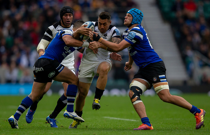 Bristol Bears' Tusi Pisi in action during todays match<br /> <br /> Photographer Bob Bradford/CameraSport<br /> <br /> Gallagher Premiership - Bath Rugby v Bristol Bears - Saturday 6th April 2019 - The Recreation Ground - Bath<br /> <br /> World Copyright © 2019 CameraSport. All rights reserved. 43 Linden Ave. Countesthorpe. Leicester. England. LE8 5PG - Tel: +44 (0) 116 277 4147 - admin@camerasport.com - www.camerasport.com