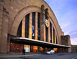 The Facade Of The Cincinnati Museum Center At Union Terminal In It's Late Evening Appearance, Outside Lights Beginning to Come On, Cincinnati Ohio USA