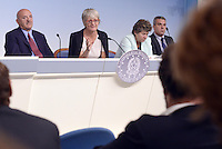 Roma, 7 Ottobre 2014<br /> Palzzo Chigi <br /> Conferenza stampa delle e dei leader sindacali al termine dell'incontro col Governo sul jobs act.<br /> Luigi Angeletti, Annamaria Furlan,Susanna Camusso.<br /> Rome, October 7, 2014 <br /> Palzzo Chigi <br /> Press conference of union's leader after the<br /> meeting with the Prime Minister  on jobs act