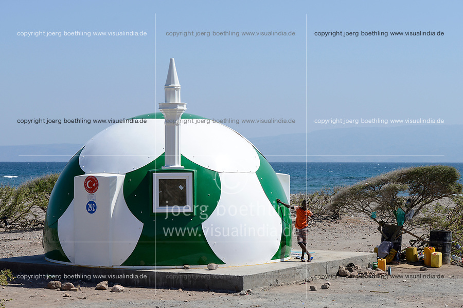 DJIBOUTI , Tadjoura, Turkey financed mosque in football design, NEVKA composite house, yeter and halil mosque  / DSCHIBUTI, Tadjoura, von Tuerkei finanzierte Moschee im Fussball design