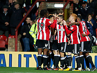 Neal Maupay of Brentford celebrates scoring during the Sky Bet Championship match between Brentford and Leeds United at Griffin Park, London, England on 4 November 2017. Photo by Carlton Myrie.