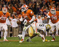 The eighth ranked Clemson Tigers defeat the Georgia Tech Yellow Jackets at Death Valley 55-31 in an ACC matchup.  Clemson Tigers quarterback Tajh Boyd (10)