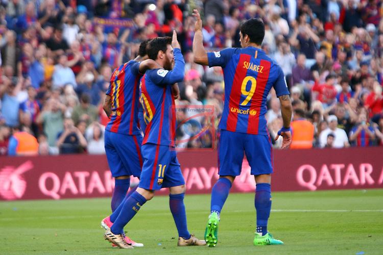 League Santander 2016/2017. Game: 36.<br /> FC Barcelona vs Villarreal CF: 4-1.<br /> Neymar Jr.,  Lionel Messi &amp; Luis Suarez.