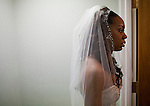 Sanya Richards, Olympic gold medalist, waits back stage to be wed to Aaron Ross, New York Giants cornerback, at the Hyde Park Baptist Church in Austin, Texas on Friday, February 26, 2010. The couple met while participating in the athletics programs at the University of Texas.