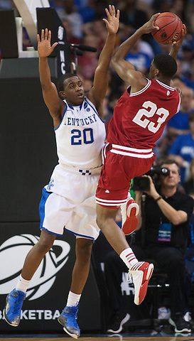Indiana Hoosiers guard Remy Abell shoots against Kentucky Wildcats guard Doron Lamb Kentucky faced Indiana during the Sweet 16 round of the 2012 NCAA Tournament at the Georgia Dome in Atlanta,  March 23, 2012. Photo by