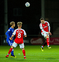 Fleetwood Town's Gethin Jones wins a header<br /> <br /> Photographer Alex Dodd/CameraSport<br /> <br /> The EFL Checkatrade Trophy - Northern Group B - Fleetwood Town v Leicester City U21 - Tuesday September 11th 2018 - Highbury Stadium - Fleetwood<br />  <br /> World Copyright &copy; 2018 CameraSport. All rights reserved. 43 Linden Ave. Countesthorpe. Leicester. England. LE8 5PG - Tel: +44 (0) 116 277 4147 - admin@camerasport.com - www.camerasport.com