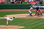 The Nationals' Tomo Ohka (34) throws a strike to the Braves' Kelly Johnson (27) on Monday, May 30, 2005. The Washington Nationals defeated the Atlanta Braves 3-2 at RFK Stadium in Washington, DC.