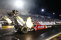 Sep 27, 2013; Madison, IL, USA; NHRA top fuel dragster driver Antron Brown during qualifying for the Midwest Nationals at Gateway Motorsports Park. Mandatory Credit: Mark J. Rebilas-