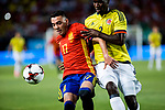 Iago Aspas of Spain competes for the ball with Cristian Eduardo Zapata of Colombia during the friendly match between Spain and Colombia at Nueva Condomina Stadium in Murcia, jun 07, 2017. Spain. (ALTERPHOTOS/Rodrigo Jimenez)
