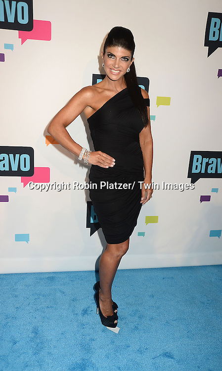 Teresa Giudice of New Jersey Housewives arrives at the Bravo 2013  Upfront on April 3, 2013 at Pillars 37 Studio in New York City.