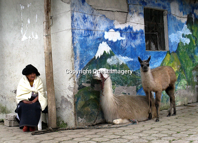 Otavalo, capital of Otavalo Canton, is a largely indigenous town in the Imbabura Province of Ecuador. The town has about 90,000 inhabitants and is surrounded by the peaks of Imbabura, (15,190 ft), Cotacachi (16,388 ft), and Mojanda volcanoes. <br />