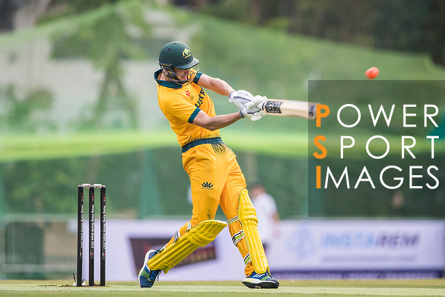 Matthew Short of Australia hits a shot during Day 1 of Hong Kong Cricket World Sixes 2017 Group B match between New Zealand Kiwis vs Australia at Kowloon Cricket Club on 28 October 2017, in Hong Kong, China. Photo by Vivek Prakash / Power Sport Images