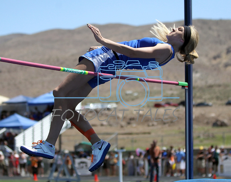 Bishop Gorman's Francesca Manz jumps in the high jump event at the Nevada State Track and Field Championships at Damonte High School in Reno, Nev., on Saturday, May 19, 2012. .Photo by Cathleen Allison