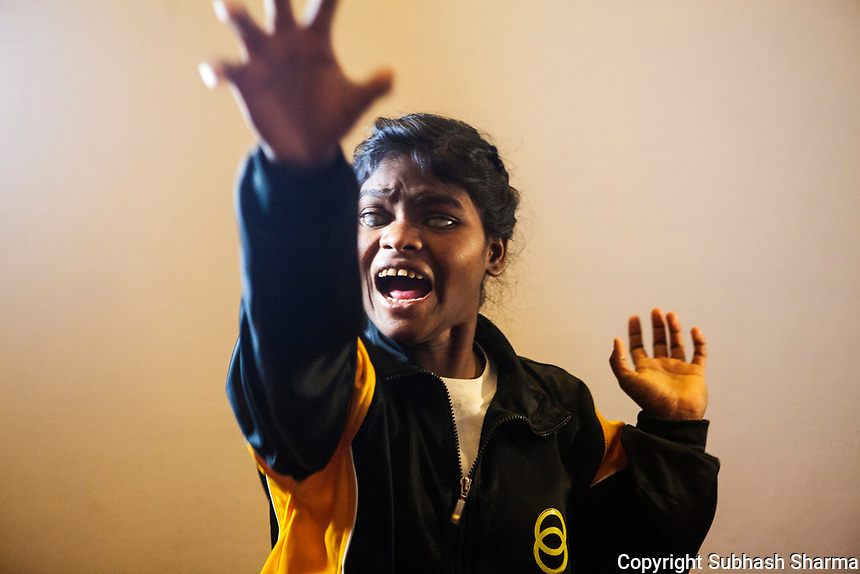 27 Feb 2017 - New Delhi - INDIA.<br /> <br /> Babita Goud, Demonstrates the 'Tiger Claw' Attack technique to fend off an attack form a Molestor at an event Organised in New Delhi.<br /> <br /> Babita Goud, 20, resides in Surela village of Pipariya block, Hoshangabad district. Due to unfortunate family economic circumstances she had to leave studies.  She is Bronze medal winner in 4th National Blind and Judo Championships. She wish to becomes a Judo Player in future.<br /> She Says - &Ograve;Judo gives us confidence that we can be much better in our life&Oacute;<br /> <br /> Women and girls with disabilities are at a much higher risk of violence and abuse than their peers. Recently in the news there have been cases of young visually impaired girls being raped and sexually abused in India. <br /> As part of empowering and developing the skills of young visually impaired girls, Sightsavers is piloting an adolescent health programme to enable them to respond to real life situations in positive and responsive ways. As part of this Sightsavers is training visually impaired girls in self-defence. Many of the girls, who come from economically underprivileged backgrounds, have gone on to win medals in the National Blind and Deaf Judo Championships and a few want to go on to teach other girls with disabilities in the arts of self-defence. <br /> <br /> (Subhash Sharma for Sightsavers) Sightsavers - Visually Impaired Girls Learn Self Defense Skills.