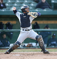 April 4, 2008:  West Michigan Whitecaps starting catcher Jordan Newton (24) behind the plate against the South Bend SilverHawks at Coveleski Stadium in South Bend, IN.  Photo by: Chris Proctor/Four Seam Images