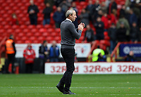 Lee Bowyer manager of Charlton Athletic thanks the Charlton Athletic  fans at full time Charlton Athletic vs Preston North End, Sky Bet EFL Championship Football at The Valley on 3rd November 2019