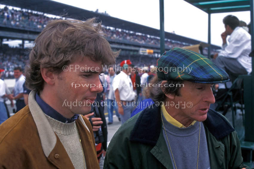 Jackie Stewart (R) and son Paul visit the track on race morning.