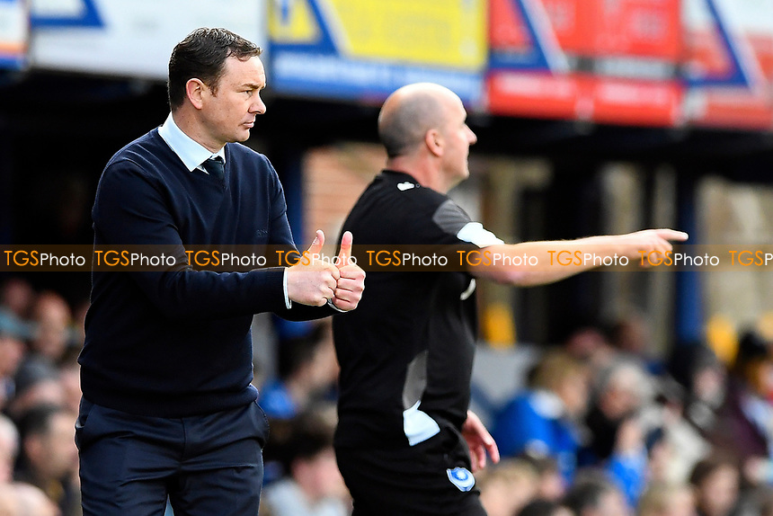 Plymouth Argyle Manager Derek Adams gives the thumbs up during Portsmouth vs Plymouth Argyle, Sky Bet EFL League 2 Football at Fratton Park on 14th April 2017