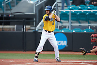 Josh Madole (6) of the UNCG Spartans at bat against the San Diego State Aztecs at Springs Brooks Stadium on February 16, 2020 in Conway, South Carolina. The Spartans defeated the Aztecs 11-4.  (Brian Westerholt/Four Seam Images)