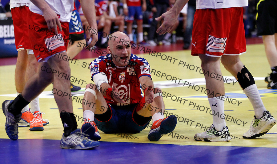 Ivan Nikcevic of Serbia reacts during men`s EHF EURO 2012 handball championship final game between Serbia and Denmark in Belgrade, Serbia, Sunday, January 29, 2011.  (photo: Pedja Milosavljevic / thepedja@gmail.com / +381641260959)