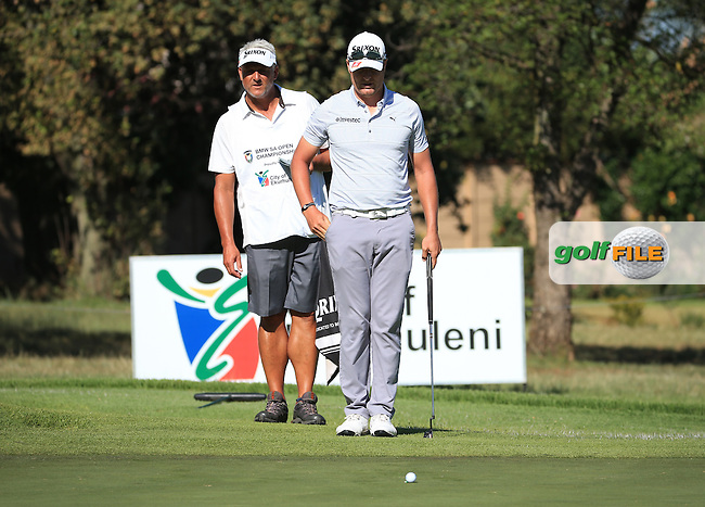 Jacques Blaauw (RSA) makes a birdie on 16 good enough for the weekend during the completion of Round Two of the 2016 BMW SA Open hosted by City of Ekurhuleni, played at the Glendower Golf Club, Gauteng, Johannesburg, South Africa.  09/01/2016. Picture: Golffile | David Lloyd<br /> <br /> All photos usage must carry mandatory copyright credit (&copy; Golffile | David Lloyd)