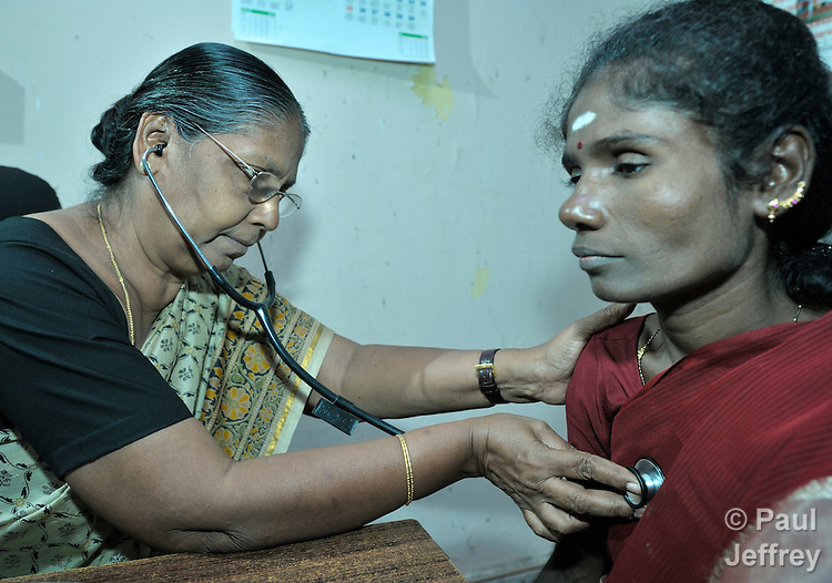HIV positive woman examined in church clinic in India ...