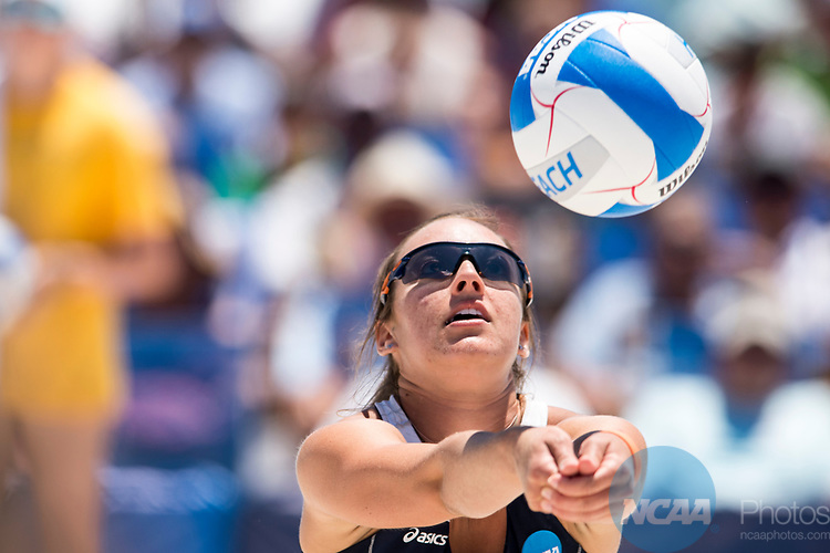 GULF SHORES, AL - MAY 07: Anika Wilson (14) of Pepperdine University returns a serve during the Division I Women's Beach Volleyball Championship held at Gulf Place on May 7, 2017 in Gulf Shores, Alabama.The University of Southern California defeated Pepperdine 3-2 to claim the national championship. (Photo by Stephen Nowland/NCAA Photos via Getty Images)
