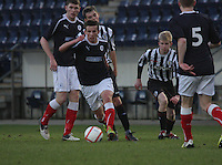 Kris Faulds on the ball at the Falkirk v St Mirren  Scottish Football Association Youth Cup 4th Round match played at the Falkirk Stadium, Falkirk on 16.12.12. .