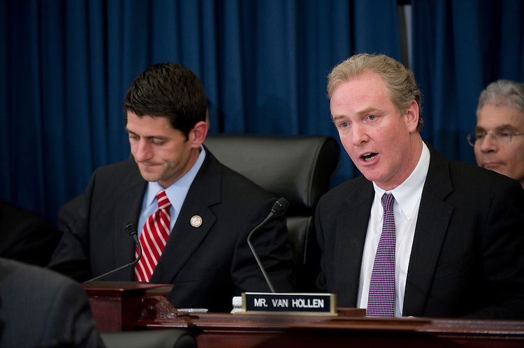 WASHINGTON, DC - April 06: House Budget Chairman Paul D. Ryan, R-Wis., and ranking member Chris Van Hollen, D-Md., during the markup of Ryan's 2012 budget plan. (Photo by Scott J. Ferrell/Congressional Quarterly)
