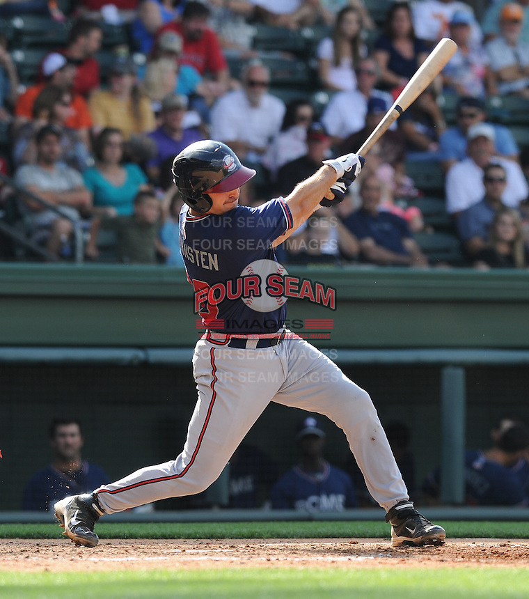 Catcher Cory Brownsten (30) of the Rome Braves, an Atlanta Braves affiliate, in a game against the Greenville Drive on May 6, 2012, at Fluor Field at the West End in Greenville, South Carolina. Greenville won, 11-3. (Tom Priddy/Four Seam Images)