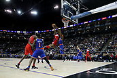 17th January 2019, The O2 Arena, London, England; NBA London Game, Washington Wizards versus New York Knicks; Bradley Beal of the Washington Wizards drives to the basket against the Mitchell Robinson of the New York Knicks