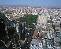 aerial photograph of Alameda Central Park and the  National Lottery building (left)  Juarez & Reforma Avenues and the Sheraton Hotel, Mexico City