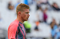 Kevin De Bruyne of Manchester City warms up ahead of the Premier League match between West Ham United and Manchester City at the London Stadium, London, England on 10 August 2019. Photo by David Horn.