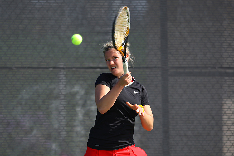 April 22, 2011; San Diego, CA, USA; Gonzaga Bulldogs singles Kristina Zauere during the WCC Tennis Championships at the Barnes Tennis Center.
