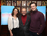 Sara Bareilles, producer Barry Weissler and Gavin Creel attend a photo call for cast change for the hit musical 'Waitress' on Broadway at Sardi's on January 4, 2019 in New York City.