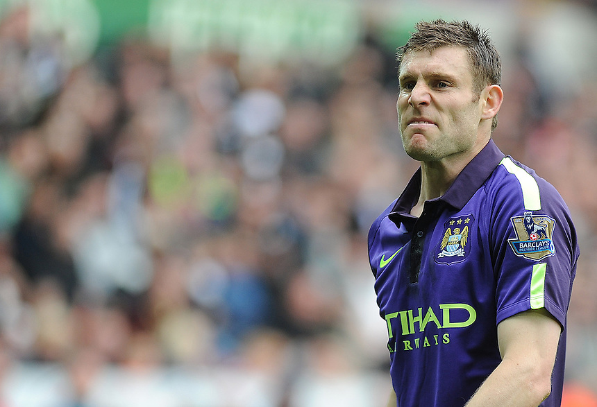 Manchester City's James Milner in action during todays match  <br /> <br /> Photographer Ashley Crowden/CameraSport<br /> <br /> Football - Barclays Premiership - Swansea City v Manchester City - Sunday 17th May 2015 - Liberty Stadium - Swansea<br /> <br /> &copy; CameraSport - 43 Linden Ave. Countesthorpe. Leicester. England. LE8 5PG - Tel: +44 (0) 116 277 4147 - admin@camerasport.com - www.camerasport.com