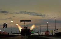Jan. 16, 2013; Jupiter, FL, USA: NHRA top fuel dragster driver Khalid Albalooshi during testing at the PRO Winter Warmup at Palm Beach International Raceway.  Mandatory Credit: Mark J. Rebilas-