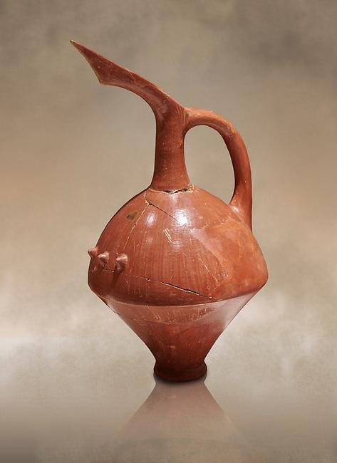 Terra cotta Hittite beaker shaped spouted pitcher - 1700 BC to 1500BC - Kültepe Kanesh - Museum of Anatolian Civilisations, Ankara, Turkey,  Against a warm art  background