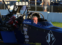 Aug 15, 2014; Brainerd, MN, USA; NHRA top fuel dragster driver Tim Cullinan on the return road during qualifying for the Lucas Oil Nationals at Brainerd International Raceway. Mandatory Credit: Mark J. Rebilas-
