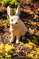 Crouching in the garden, a long-eared rabbit figurine stares up at passers-by.