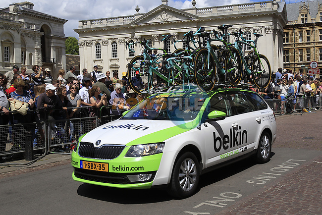 Belkin Team car passes by King's College as they start in Cambridge before the start of Stage 3 of the 2014 Tour de France running 155km from Cambridge to London. 7th July 2014.<br /> Picture: Eoin Clarke www.newsfile.ie