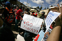 Indigenous people demonstrate against U.S. President Bush in Tecpán Guatemala, Guatemala. Bush visited a nearby Mayan site, Iximché.