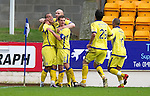 St Johnstone v Kilmarnock....06.11.10  .Ben Gordon celebrates with Conor Salmon and Craig Bryson after his deflected cross gave Killie the lead.Picture by Graeme Hart..Copyright Perthshire Picture Agency.Tel: 01738 623350  Mobile: 07990 594431