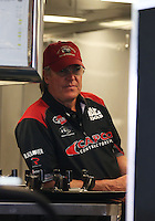 Apr. 27, 2013; Baytown, TX, USA: NHRA crew chief Richard Hogan for top fuel dragster driver Steve Torrence during qualifying for the Spring Nationals at Royal Purple Raceway. Mandatory Credit: Mark J. Rebilas-