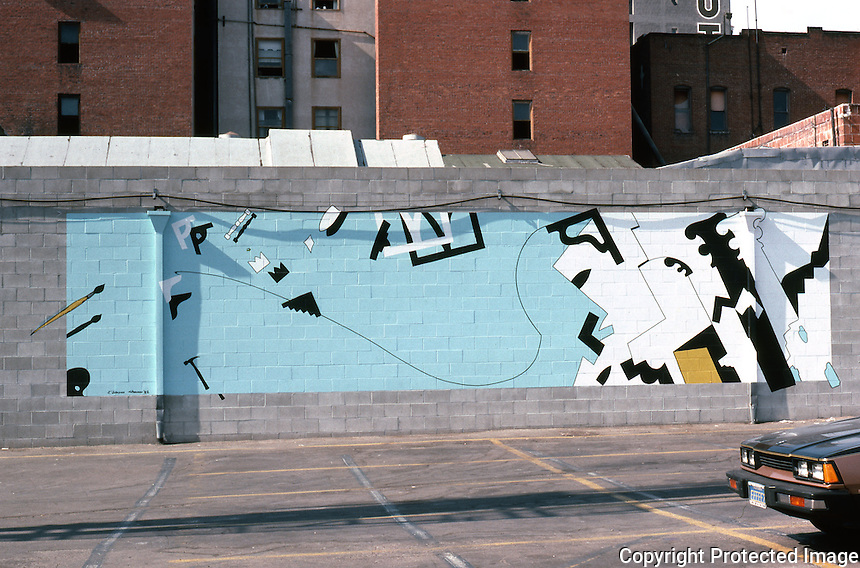 San Diego: Gaslamp Quarter--Mural.  Photo August 1982.