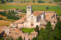 Arial view of the Papal Basilica of St Francis of Assisi, ( Basilica Papale di San Francesco ) Assisi, Italy