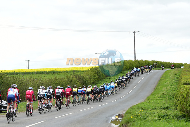 The peloton in action during Stage 1 of the Tour de Yorkshire 2017 running 174km from Bridlington to Scarborough, England. 28th April 2017. <br /> Picture: ASO/P.Ballet | Cyclefile<br /> <br /> <br /> All photos usage must carry mandatory copyright credit (&copy; Cyclefile | ASO/P.Ballet)